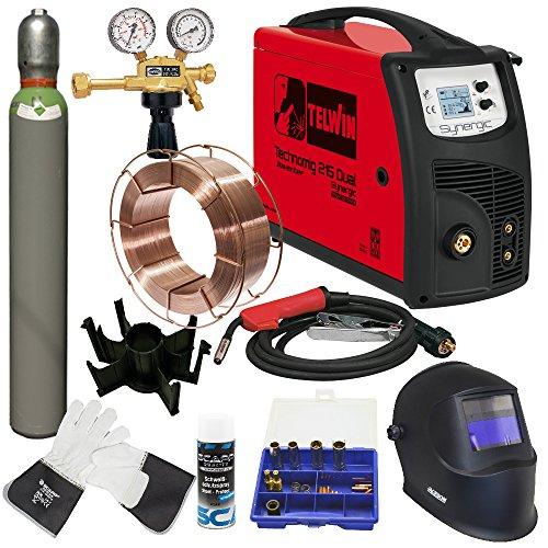 TELWIN MIG/MAG Schweißgerät TECHNOMIG 215 DUAL Synergic im SET 2 mit SCAPP Schweißdraht, SCAPP Schweißerhandschuhen, SCAPP Trennspray, Schweißhelm und Gasflasche (816053)