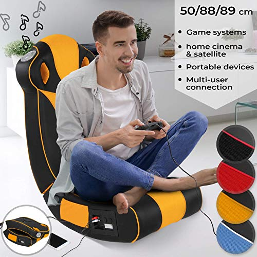 Nova - Sillon musical de Gaming de piel sintetica - Plegable, acolchado con altavoces Surround y Subwoofer - Multimedia, Gaming, silla mecedora, oscilante, relax, musica - Color a elegir