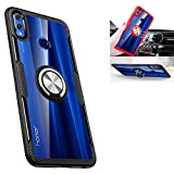 Huawei Honor 8X Case,360° Rotating Ring Kickstand Protective Case,TPU+PC Shock Absorption Double Protection Cover Compatible with [Magnetic Car Mount] for Huawei Honor 8X Case (Black/Silver)