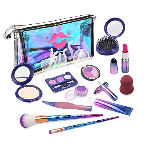 EVE STONE Pretend Makeup Set for Girls, No Chemicals Play Make up Kit with Cosmetic Bag for Toddlers, Non-Toxic Beauty Set for Little Girls, Gifts for 2 3 4 5 6 Year 0ld Girls