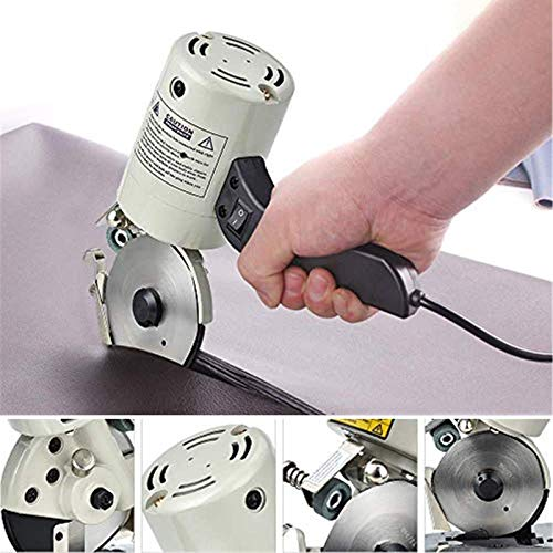 4YANG Elektrische Schere,90MM 220V Elektrischer Stoffschneider mit automatischem Schärfgerät Inzision sauber, ohne Grat, ohne Falten (Stoffschneider)