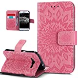 Galaxy Core Prime Case,Galaxy Core Prime Cover,ikasus Embossing Mandala Flower Sunflower PU Leather