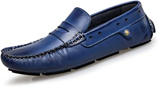 XinQuan Wang Drive Loafers for Men's Casual Low Top Slip On British Style and Comfortable Soft OX Leather Round Toe Boat Moccasins (Color : Blue, Size : 7.5 UK)