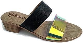 Incluye Gratis 3 Cubrebocas Lavables Sandalia de Tacón Bajo Cuadrado y Ancho 4 cm, Tornasol transparente piton