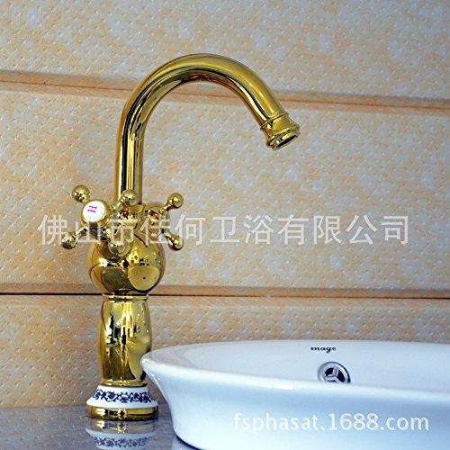 Maifeini grifos de lavabo _ caliente y frío azul y blanco porcelana doble agujero termostato Wassh lavabo grifo caliente y frío