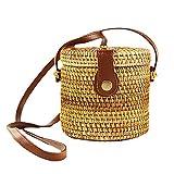 Hankyky Bolso de ratán redondo tejido a mano, correas de cuero para el hombro, bolso elegante natural, bolso de hombro para viajes, vacaciones