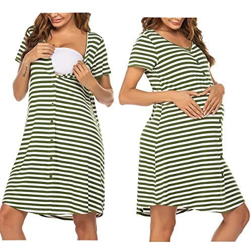 Unibelle Sleepshirt Damen Umstandskleid Stillkleid Umstandsmode Nachtwäsche Schwarz l