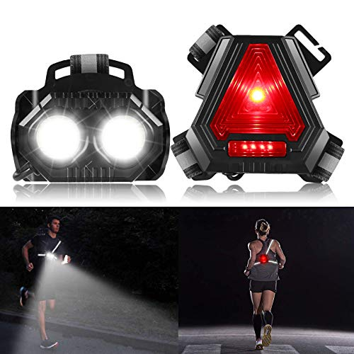 ALOVECO Night Running Lights, Rechargeable LED Chest Light Back Warning Light with 4 Lighting Modes 90° Adjustable Beam for Camping, Hiking, Running, Jogging, Outdoor Adventure