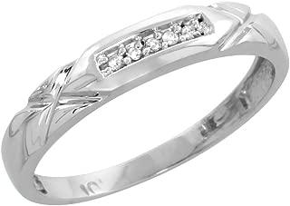 10k White Gold Diamond Engagement Ring Women 0.06 cttw Brilliant Cut 1/8 inch 3.5mm wide