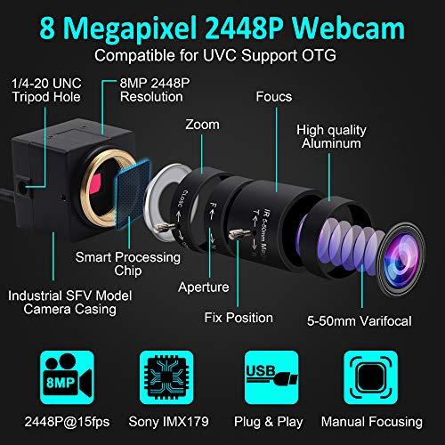 ELP Webcam 8MP,WebKamera HD 5-50mm Manuell Variable Fokus Objektiv,IMX179 Sensor USB Kamera PC Desktop/Laptop HD 2448P Zoom Kamera kompatibel mit Mac/Windows/Linux/Android USB8MP02G-SFV(5-50)