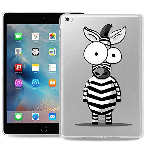 ZhuoFan Coque iPad Mini 4 Housse de Protection Étui Fin Silicone Transparente avec Motif Antichoc Flexible Smart Cover Shell Case pour Nouvel Tablette Apple iPad Mini4 7,9 Poucess, Zèbre