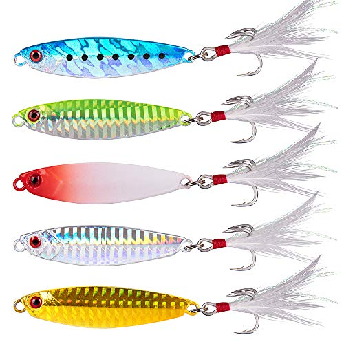 Dr.Fish Metal Jigs Casting Jigs Assortment 5 Jigging Spoon Minnow Long Casting for Bass Sea Trout Freshwater Saltwater Fishing Lure Kit