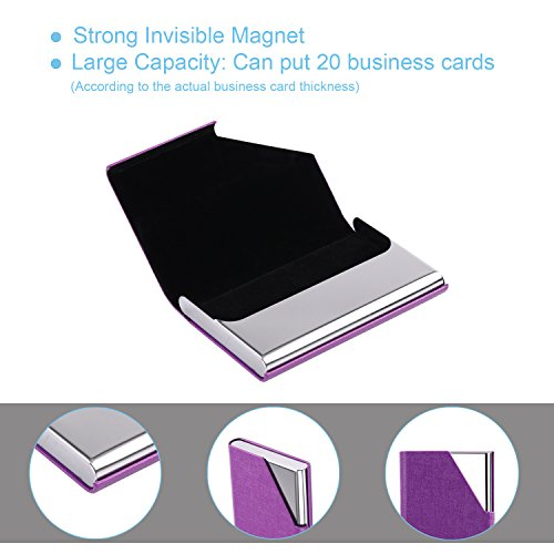 DMFLY Business Name Card Holder Luxury PU Leather & Multi Card Case, Business Name Card Holder Wallet Credit Card ID Case Holder for Women & Men - Keep Your Business Cards Clean (Purple)