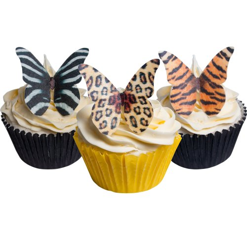 Holly Cupcakes 24 Edible Pre-Cut Wafer Butterfly Cake Toppers: Mixed Animal Designs