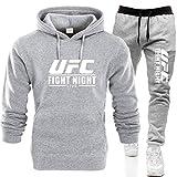 Sudadera con Capucha Impresa Traje De Ropa Deportiva De Verano para Hombre, Sudadera con Capucha Y Pantalones Impresos De UFC, Traje De Gimnasio MMA, 6 Colores (Color : Gray-2, Size : X-Large)