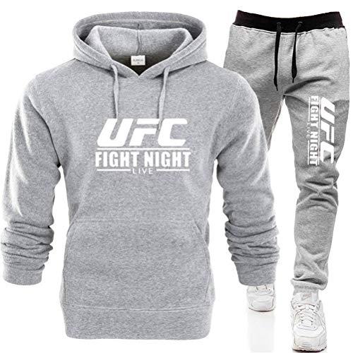 Sudadera con Capucha Impresa Traje De Ropa Deportiva De Verano para Hombre, Sudadera con Capucha Y Pantalones Impresos De UFC, Traje De Gimnasio MMA, 6 Colores (Color : Gray-2, Size : Large)