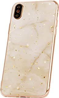 Qult Carcasa para Móvil Compatible con iPhone XS iPhone X Funda marmol Oro Blanco Silicona Flexible Bumper Teléfono Caso para iPhone X/XS Marble Gold White