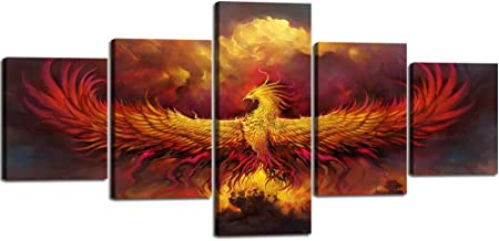 5 Piece Painting on Canvas Burning Phoenix Drawn in Heraldic Style Fire Phoenix Wall Art Vintage Pictures Print Artwork Home Decor for Living Room Giclee Framed Stretched Ready to Hang(50''Wx24''H)