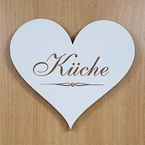 Schild Herz « Küche » ca. 13 x 12 cm - selbstklebendes Türschild Dekoschild Wohnaccessoires - Küchenschild