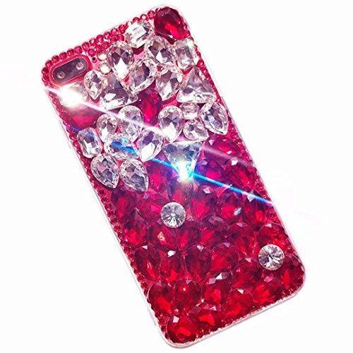 Miagon Glänzend Hülle für Samsung Galaxy S20,3D Handschlaufe Glitzer Bling Strass Hülle Diamant Transparent Handyhülle Bumper Case Tasche Schutzhülle,Rot Klar