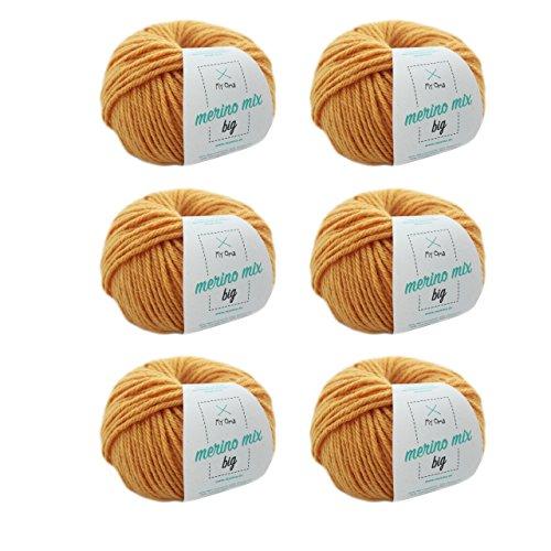MyOma gelbe Wolle zum Stricken - Merinowolle Honig (Fb 3295) + GRATIS Label - 6 Knäuel gelbe Wolle - Dicke Wolle zum Stricken – 50g/75m - Nadelstärke 6-7mm - weiche Wolle – Merino Wolle