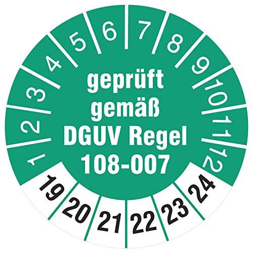 100 Stück Prüfetiketten 30 mm Lagereinrichtungen geprüft DGUV Regel 108-07 Prüfplaketten Lagergeräte 2019-2024 auf Rolle