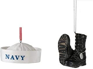 Mid West US Military Navy Hat and Boots Christmas Ornament