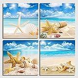4 unids/set arte de pared lienzo de impresión moderna pinturas mar playa concha estrella de mar imágenes de pared para decoración del hogarMarco integrado de 50 * 50 cm