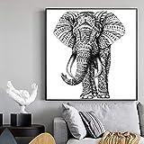 N / A Pintura sin Marco Decoración clásica Moderna para el hogar Pintura en Lienzo Animal Fresco Elefante póster Pintura Mural decoración del Dormitorio ZGQ6047 60X60cm