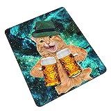 Coole Katze mit Hut, Bierkrüge, lustige Getränke, Gaming-Mauspad, Laptop, Computer, Tastatur, Mauspad, Büro, Raum, Heimdekoration, Zubehör