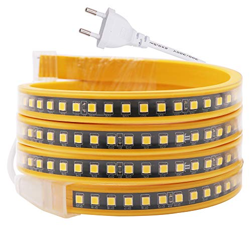 XUNATA Striscia LED 220 V con Chip Raddrizzatore IC, 120 Unità Super Luminose 4040 LED per Metro, Adatto per illuminazione di Decorazioni Commerciali - Bianco Caldo, 5 M
