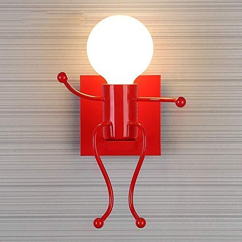 Nordic creatieve ijzeren kunst machine Little Man wandlamp lamp persoonlijkheid metaal schommel wandlamp woonkamer kinderslaapkamer bedlampje E27, wit-1-licht