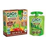 GoGo squeeZ Organic Applesauce on the Go, Apple Cinnamon, 3.2 Ounce (4 Pouches), Gluten Free, Vegan Friendly, Unsweetened Applesauce, Recloseable, BPA Free Pouches (Packaging May Vary)