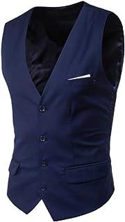 MU2M Men's V-Neck Slim Fit 4 Button Waistcoat Business Dress Suit Vest