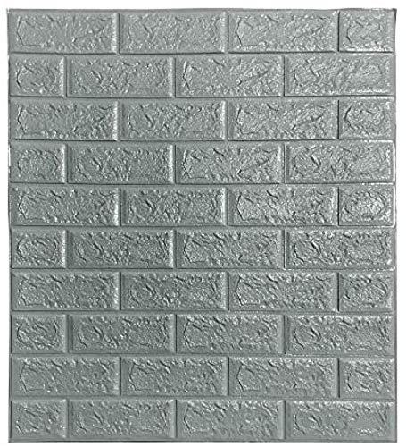 Ice-Beaut Packung Mit 10 Selbstklebenden Wandaufklebern, 3D Brick Wallpaper Foam Panel Dekorative Abnehmbare Schallschutzwandpaneel Fliesen FüR Wohnzimmer Schlafzimmer Gray