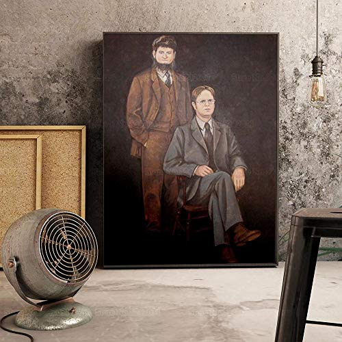 dayanzai The Office Poster Portrait of Dwight Schrute and Mose Schrute Canvas Painting Wall Art Decoration for Living Room/50x70cm-No Frame