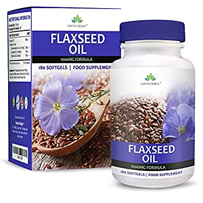 Flaxseed Oil - 1000mg Flax Seed Oil Supplement - Best Source of Omega 3 6 9 for Men & Women, Get Double The Capsules - 180 Softgels (3 Months Supply) by Earths Design