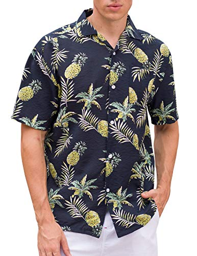 Janmid Men's Tropical Hawaiian Shirt Casual Button Down Short Sleeve Shirt Navy Pineapple XL