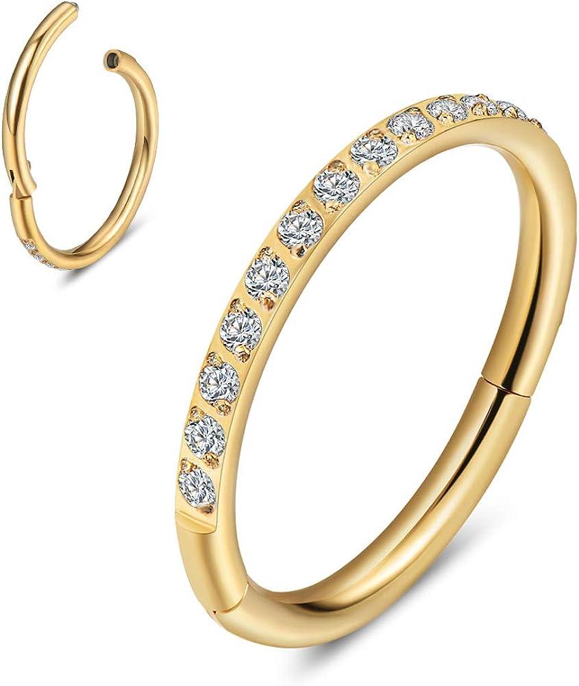 KNDINLO Cartilage Earring Hoop CZ Lobe Helix Conch Rook Tragus Snug Earrings Piercings Jewelry Septum Nose Rings Bodyjewelry for Men and Women Comfort fit