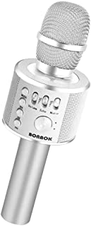 BONAOK Wireless Bluetooth Karaoke Microphone,3-in-1 Portable Handheld karaoke Mic Speaker Machine Home Party Birthday Graduation Gift for iPhone/Android/iPad/Sony/PC/All Smartphone(Q37 Silver)