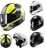 Casco de moto modular LS2 FF325, estroboscópico, casco de motocicleta, casco de casco, casco, casco, con visera interior, Blanco, large