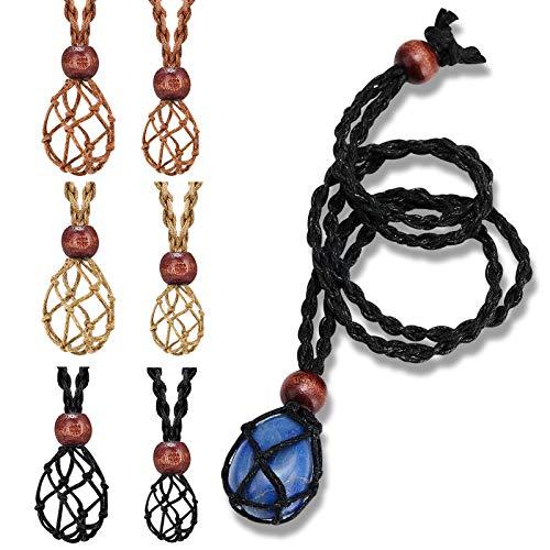 6 Cordones de Collar Soporte de Piedra Vacío Collar Soporte Vacío Cuerda de Collar de Piedra Cruda Cristal Cuarzo, Jaula de Cordón Ajustable Cordón de Collar de Red de Pescado para Joyas