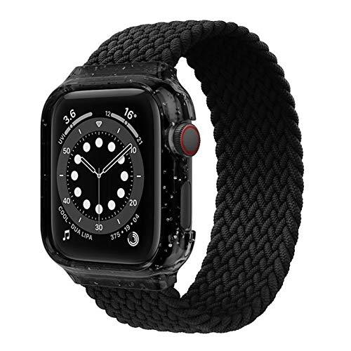 CGGA Bucle Solitario Trenzado para la Banda de Reloj de Apple 44 mm 40 mm de Caja + Tela de Correa Pulsera de Nylon para Banda de iWatch Strap Serie 4 5 SE 6 Reloj Correa