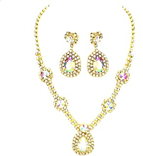 Women's Affordable Wedding Jewelry Teardrop Crystal Chandelier Earrings Necklace Set Evening Prom Gift