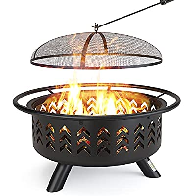 Outdoor Fire Pit, QOMOTOP 36 Inch Large Steel Wood Burning Fire pits with Spark Screen, Poker, and Fireplace Cover, for Patio, Backyard, Garden, Party & Bonfire