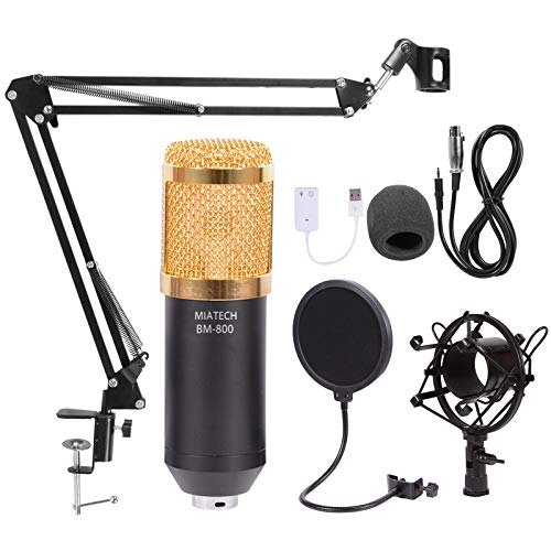MIATECH XLR Condenser Microphone BM-800 Set with Adjustable Recording Microphone Suspension Scissor Arm Stand with Shock Mount and Mounting Clamp Kit for Professional Studio/Home Recording, Podcasting