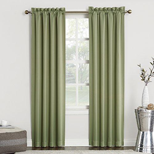 "Sun Zero Easton Blackout Energy Efficient Rod Pocket Curtain Panel, 40"" x 84"", Sage Green"
