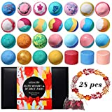 28 Pcs Bath Bombs Gift Set, Lagunamoon Handmade Bath Bombs with Bubble Bar, Vegan Pure Essential Oils & Coconut Oil & Shea Butter, Fizzy Spa Kit - Best Birthday Gifts for Women, Girls, Kids