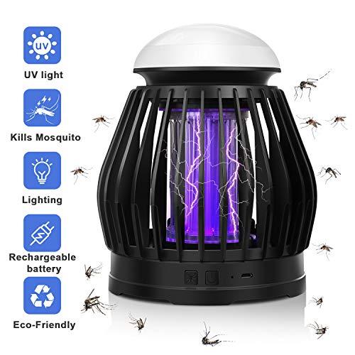 TDW Lampada Repellente per Zanzare, Lampada Zanzara con Presa USB, Uccisore di Insetti Elettrico per Uso Interno - Trappola per Zanzare con Lampada Respiratoria e Vassoio di Raccolta Rimovibile, Nero