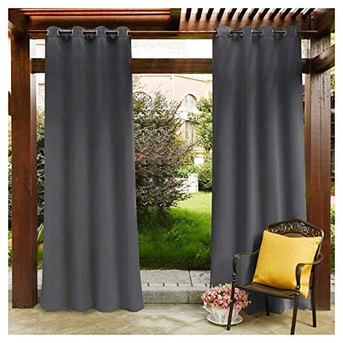 MIAOKU Outdoor Curtain, Waterproof Drapes Panels Extra Wide Blackout Patio Curtains, For Front Porch, Pergola, Cabana, Covered Patio, Gazebo, Dock, and Beach Home
